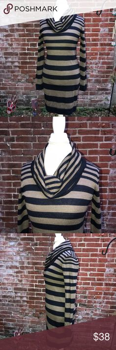 "Ann Taylor LOFT striped sweater dress S Ann Taylor LOFT striped sweater dress. Size small. Colors are navy and tan. 51% acrylic 49% merino wool. Small moth hole but repaired. Long sleeves and turtleneck. Measurements are roughly 18"" pit to pit, length roughly 37"". Bundle items for greater discounts LOFT Sweaters Cowl & Turtlenecks"