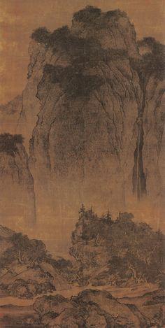 "Fan Kuan (范寬) , Travellers among Mountains and Streams , 范宽 溪山行旅图 ,  台北故宫博物院藏 ""溪山行旅图""是范宽的代表作,也是中国绘画史中的杰作。作者于树傒间题""臣范宽制""4字。作品气势雄强,巨峰壁立,几乎占满了画面,山头杂树茂密,飞瀑从山腰间直流而下,山脚下巨石纵横,使全幅作品体势错综,在山路上出现一支商旅队伍,路边一湾溪水流淌,正是山上流下的飞瀑,使观者如闻水声、人声、骡马声,也点出了溪山行旅的主题。徐悲鸿在世时曾高度评价此画:""中国所有之宝,吾所最倾倒者,则为范中立《溪山行旅图》,大气磅礴,沉雄高古,诚辟易万人之作。此幅既系巨帧,而一山头,几占全幅面积2/3,章法突兀,使人咋舌!"""