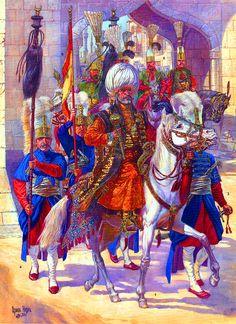 Ottoman Sultan with hisJanissaries Agha entourage