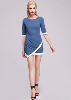 $ 5.55 Stylish Lady Women's Casual New Fashion Irregular Hem O-neck SexyDress