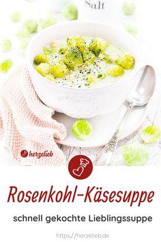 Suppen Rezepte, Käse Rezepte: Rezept für eine leckere Rosenkohl Käsesuppe von herzelieb. Schön cremig und einfach zu machen. Ein tolles Mittagessen und ein geniales Abendbrot. Diese Kombination ist so lecker, dass wir davon nicht genug bekommen können. Dieses Käsesuppe Rezept ist wirklich einfach. So lecker kann Rosenkohlsuppe sein! Man kann nie genug Rosenkohl Rezepte oder Käse Rezepte haben. #herzelieb #Rosenkohl #suppe #käse Breakfast, Food, Brussels Sprout, Food Food, Cooking, Recipes, Morning Coffee, Eten, Meals