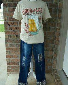 Chug a Lug Tee  Leopard Print Boyfriend Jeans  Order At www.danddwesternwear.com