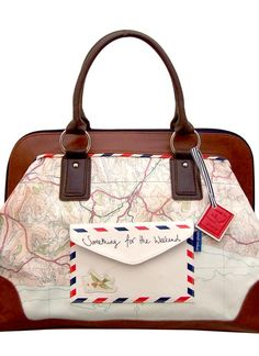 Multi Shoulder Bag - Vintage Travel Inspired Map Bag | UsTrendy