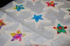 Salt Dough Suncatchers - Homegrown Friends fill shapes with pony beads to create salt dough suncatchers Crafts To Do, Holiday Crafts, Holiday Fun, Christmas Crafts, Crafts For Kids, Christmas Ornaments, Felt Christmas, Kids Diy, Homemade Christmas