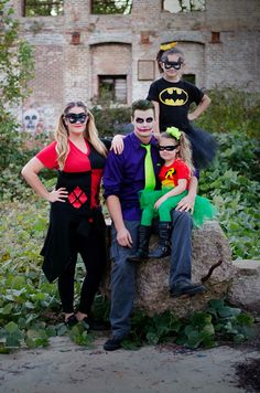 Batman & Robin Joker & Harley Quinn family Halloween costumes                                                                                                                                                                                 More