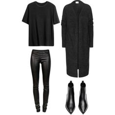 A fashion look from August 2015 featuring Acne Studios cardigans, Helmut Lang leggings and Acne Studios ankle booties. Browse and shop related looks.
