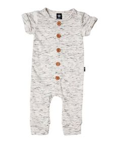 20f49900b0e2 Littlest Prince Couture Gray French Terry Button-Up Romper - Newborn