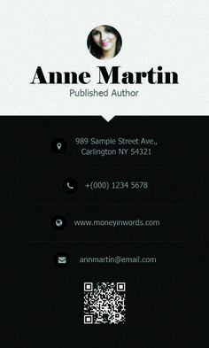 Money In Words Business Card v2 Front #Deesignerd #BusinessCard #Author #Books