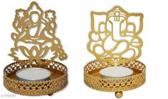 Festive Diyas & Candles Tealight Candle Holder   Material : Iron Dimension (L X W X H) : 3 In X 3 In X 3.75 In Description : It Has 1 Piece Of Ganeshji & 1 Piece Of Lakshmiji Tealight Candle Holder Sizes Available: Free Size *Proof of Safe Delivery! Click to know on Safety Standards of Delivery Partners- https://ltl.sh/y_nZrAV3  Catalog Rating: ★4 (2760)  Catalog Name: Basic Home Decorative Products Vol 1 CatalogID_147940 C128-SC1604 Code: 781-1183161-