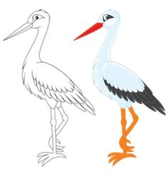 Storks Vector Images (over Easy Coloring Pages, Coloring Books, Baby Stork, Circle Quilts, Bird Embroidery, Origami, Bird Drawings, Painting Patterns, Drawing For Kids