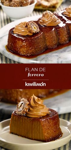 Give a twist to your traditional chocolate flan and surprise everyone at Christmas with this delicious flan of ferrero with nutella. You can prepare flans in a glass for each of your guests or serve them with Ferrero chocolates and hazelnut cream. Jello Recipes, Mexican Food Recipes, Sweet Recipes, Dessert Recipes, Gelatina Jello, Chocolate Flan, Flan Dessert, Flan Recipe, Recipes From Heaven
