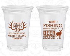 30th Birthday Soft Sided Cups, Dirty 30, Fishing Birthday, Hunting Birthday, Deer Birthday, Disposable Birthday Cups (20127)