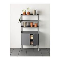 IKEA - HINDÖ, Shelving unit w/cabinet, in/outdoor, Also stands steady on an uneven floor since the feet can be adjusted.You can adjust the height of the shelves to suit your needs.The shelving unit and cabinet is durable, easy to clean and protected from rust, as it is made of powder-coated steel.