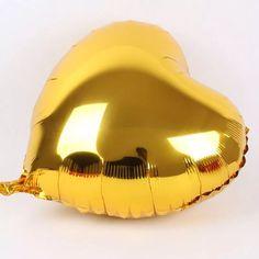 balão coração dourado 45cm metalizado bola hélio gás -sp R$1,97