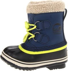 wish these came in grown up size! i love the combo of the blue + neon // children's sorel snow boot