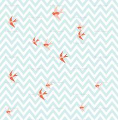 Bird & chevron fabric