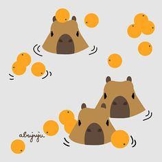 水豚泡橘子澡 (カピバラ) Capybara by abujuju