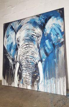 Elephant #5 - Close up - Large Painting #artforsale #artlovers #interiordesign #africa #africalovers #wildlife #animalart #animalartist