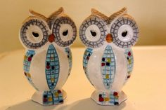 RELCO MOSAIC OWL CERAMIC SALT PEPPER SHAKER Set  VINTAGE JAPAN 7