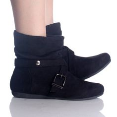 Details about NEW Womens Short Wrinkle Slouch Ankle Boots Flat ...
