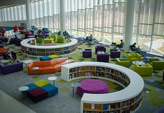 A library for the people Public Library Design, Bookstore Design, School Library Design, Kids Church Decor, Kindergarten Design, Classroom Layout, Library Furniture, School Plan, Dream Library