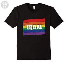 Mens Equal rights Rainbow LGBT Flag Shirt LGBTQ for Gift Birthday Large Black - Birthday shirts (*Amazon Partner-Link)