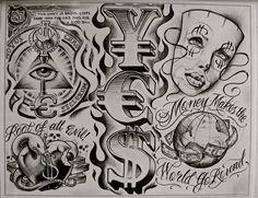 pics of money tattoos Boog Tattoo, Chicano Tattoos Sleeve, Chicano Style Tattoo, Chicanas Tattoo, Money Tattoo, Inca Tattoo, Flash Art Tattoos, Body Art Tattoos, Hand Tattoos