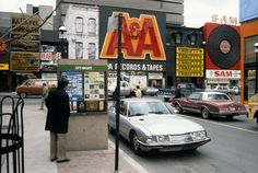 A & A Records, Thrifty's (in the former Steele's Tavern) and Sam the Record Man, seen from the Yonge Street and Elm Street intersection, between 1977 and Photo from the City of Toronto Archives, Fonds Series File Gordon Lightfoot, Yonge Street, Downtown Toronto, Toronto City, Canadian History, Roadside Attractions, Toronto Canada, Old Things, Memories