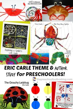 Eric Carle Theme and Author Study for Preschoolers: Activities for The Grouchy Ladybug, The Very Hungry Caterpillar, The Very Busy Spider, The Tiny Seed, and more popular children's books!