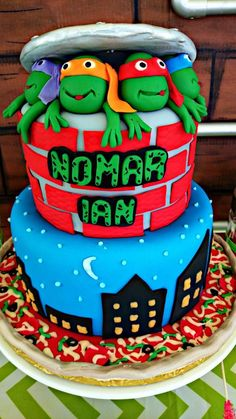 Teenage Mutant Ninja Turtle Birthday Party cake!  See more party planning ideas at CatchMyParty.com!
