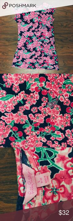 Lilly Pulitzer Dress Girls size L (8/10) could be worn as a dress or long shirt depending on the girl! Super cute floral print with cherries. EUC 😘 Lilly Pulitzer Dresses Casual