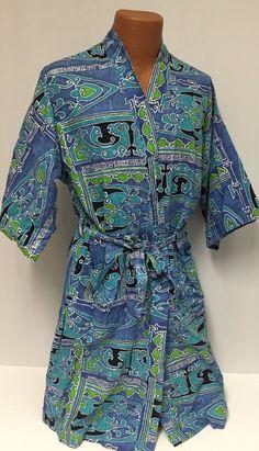 Vintage Robe Men's M/L Hawaiian Geometric Barkcloth Blue Purple  #Unknown #Robes
