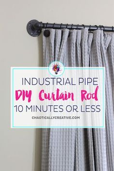 Curtain Rods can be expensive. Finding large ones can be hard. Why not DIY Curtain Rods and get exactly what you want! rods for large windows Easy DIY Curtain Rods - Chaotically Creative Rustic Curtain Rods, Farmhouse Curtain Rods, Pipe Curtain Rods, Industrial Curtain Rod, Window Curtain Rods, Industrial Pipe, Decorative Curtain Rods, Window Curtains, Dyi Curtains