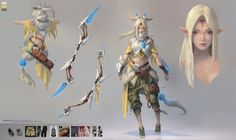 Elf_Bow_Character Design, Taejune Kim on ArtStation at https://www.artstation.com/artwork/KJB4W