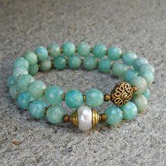 positivity and purity, genuine amazonite gemstone and pearl mala bracelet set  #lovepray #jewelry #bracelet sets: