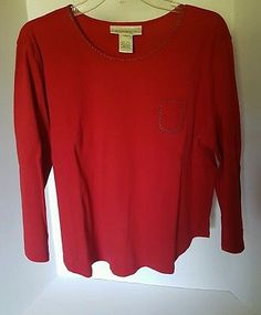 Womens Susan Bristol Red 3/4 Sleeve Shirt XL