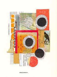my day 164 collage {4 Dots} :: asian, joss and magazine pages, paper scraps, text; glued.