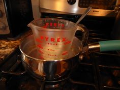 How to Melt Shea Butter  Without a Double Boiler...Pour water into a medium saucepan and fill to about 1/4-1/3 capacity.  Place pan on stove on low-medium heat, but not boiling.  Put shea butter in glass measuring cup.  Place glass measuring cup in heated water in pan.  Stir until melted.  It only takes a few minutes.  Remove measuring cup from heat and let it cool.  Now you are ready to make your own shea butter beauty products.
