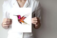 B83 - Hummingbird art print - Geometric - Bird art - pink, red - Modern wall decor by villavera on Etsy