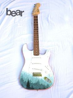 Custom Hand Painted Fender Squier Stratocaster guitar - Pine Tree Forest drawingmyselfonepixelatatime.tumblr.com