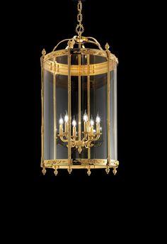 Classic pendant lamp, brass lantern with polished golden finish Brass Lantern, Classic Lighting, Chandelier, Wall Lights, Ceiling Lights, Hanging Lanterns, Led, Light Decorations, Pendant Lamp