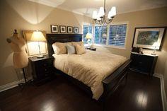 Neutral Master Bedroom......I like the headboard and photos