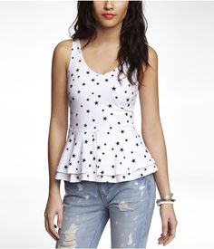 Want! Want! Want! STARRED ZIP BACK DOUBLE LAYER PEPLUM TANK | Express