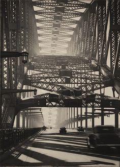"luzfosca: "" Harold Cazneaux Sydney Bridge, Bridge pattern, Arch of steel, 1934. """