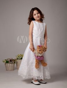 White A-line Sleeves Embroidery Satin Organza First Communion Dress - Milanoo.com