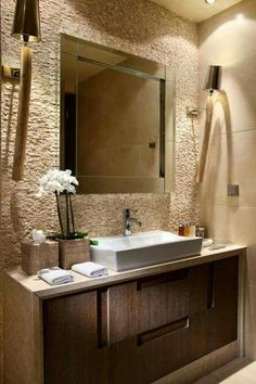 Perhaps you have not noticed you deserve a fancy bathroom, so we put together a little gallery of 37 spa-like bathroom designs to inspire you. Spa Like Bathroom, Bathroom Interior, Master Bathroom, Bathroom Ideas, Bathroom Pink, Natural Bathroom, Office Bathroom, Bathroom Modern, Rustic Bathrooms