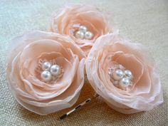 Peach wedding bridal flower hair accessory 3 pcs bridal