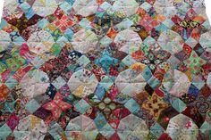 A hand-pieced quilt