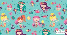 Mermaid Illustration - Nixie - Surface Pattern Design by Inga Wilmink