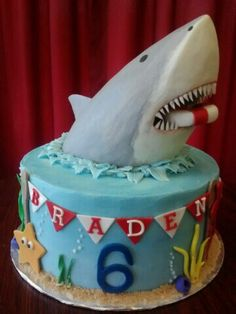 Shark cake Logan wants this cake now